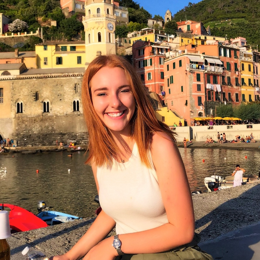 Girl smiling in Cinque Terre