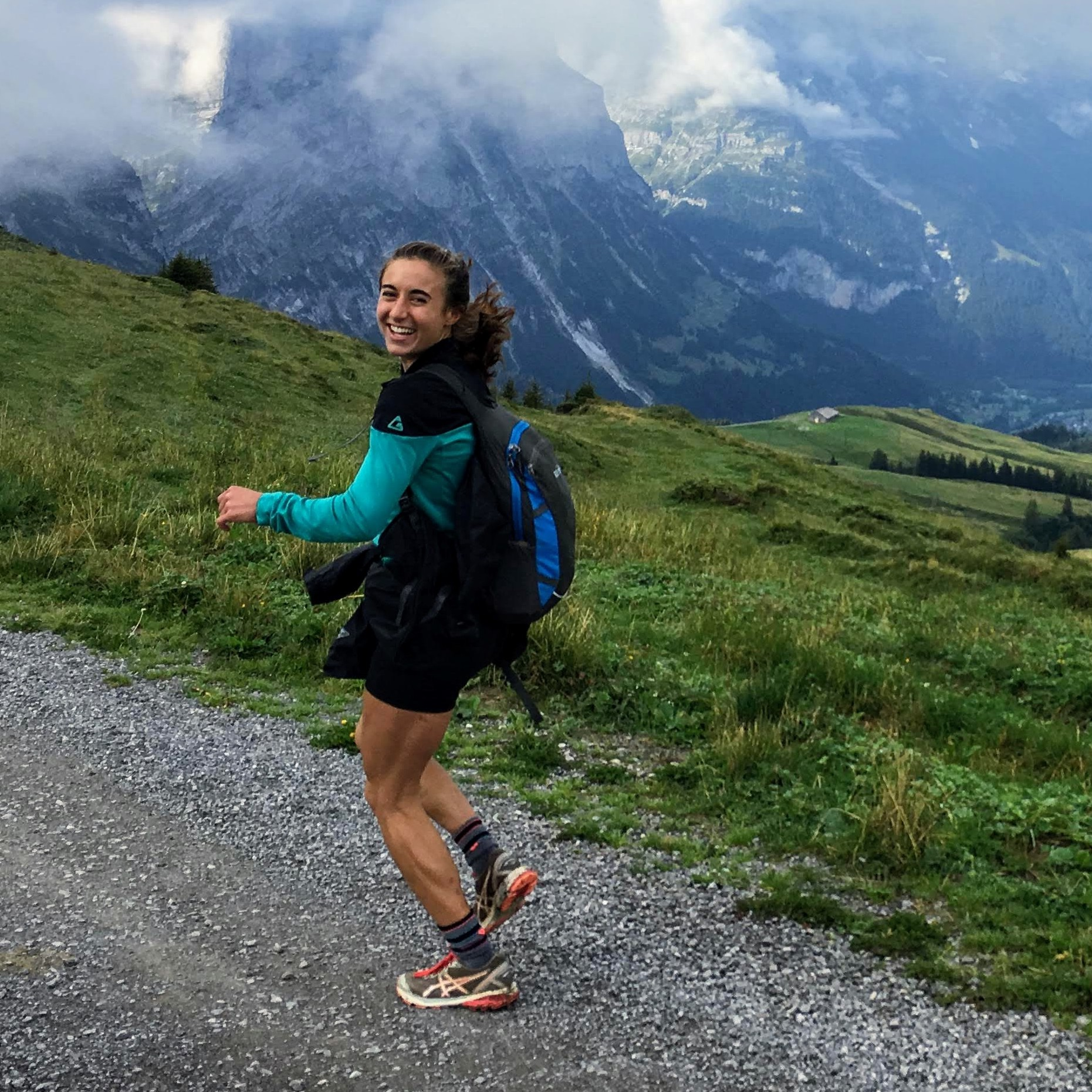 Girl running and hiking